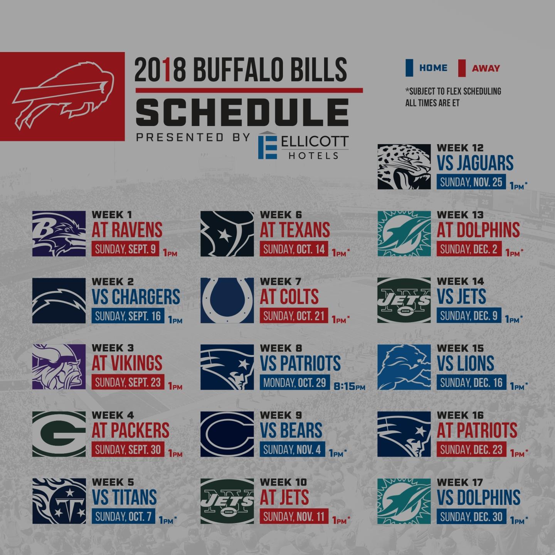 2018 Bills Schedule